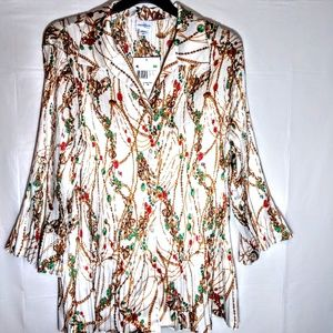Pleated UnCuffed Flowing Blouse NWT 3X